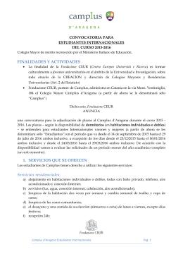Catania - Camplus d`Aragona Convocatoria Estudiantes