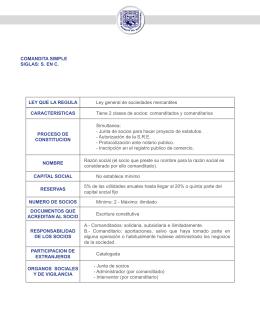 COMANDITA SIMPLE SIGLAS: S. EN C. LEY QUE LA REGULA Ley