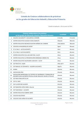 Listado de Centros con Convenio Curso 2013-14