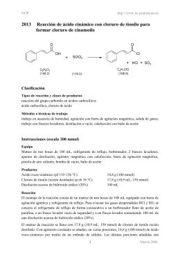 2013 Reacción de ácido cinámico con cloruro de tionilo para formar