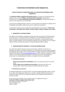 Convocatoria Audiciones V Master Interpretación Orquestal 325.42 Kb