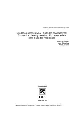 Ciudades competitivas - ciudades cooperativas: Conceptos claves y