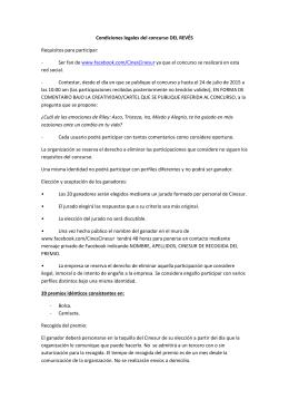 Condiciones legales del concurso DEL REVÉS Requisitos para