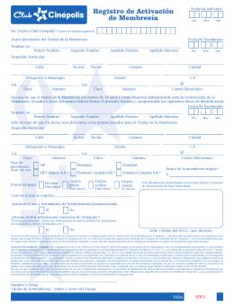 Registro de Activación de Membresía