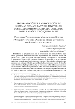 Programación de la Producción en sistemas de manufactura tiPo