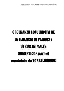 Ordenanza reguladora de la tenencia de animales domésticos