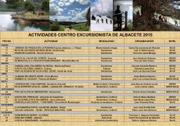 ACTIVIDADES CENTRO EXCURSIONISTA DE ALBACETE 2015