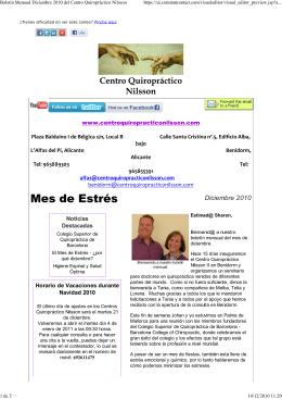 Boletín Mensual Diciembre 2010 del Centro Quiropráctico Nilsson
