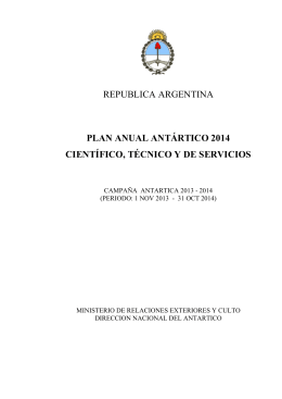plan anual antártico 2014 científico, técnico y de servicios