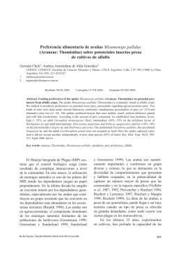 Preferencia alimentaria de arañas Misumenops pallidus