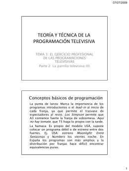 TEORÍA Y TÉCNICA DE LA PROGRAMACIÓN TELEVISIVA