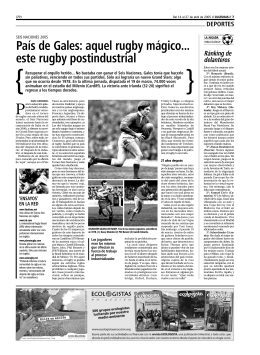 País de Gales: aquel rugby mágico... este rugby postindustrial