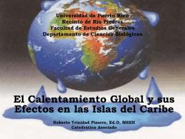 El Calentamiento Global y sus Efectos en las Islas del Caribe