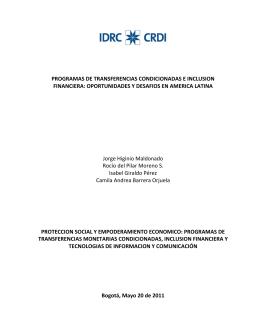 PROGRAMAS DE TRANSFERENCIAS CONDICIONADAS E