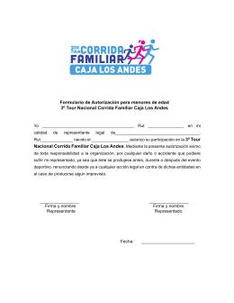 Formulario de Autorización para menores de edad 3º Tour Nacional