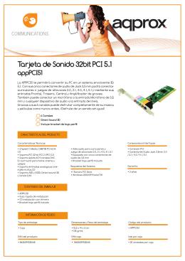 Tarjeta de Sonido 32bit PCI 5.1 appPCI51