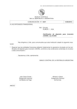 """Comunicación """"A"""" 5447 - Banco Central de la República Argentina"""