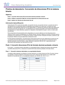 Conversión de direcciones IPv4 al sistema binario