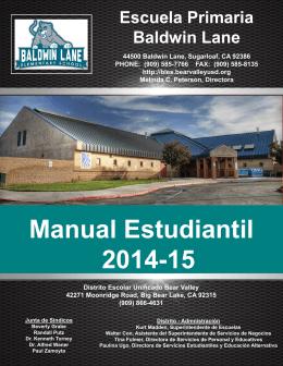 Manual Estudiantil 2014-15 - Baldwin Lane Elementary School