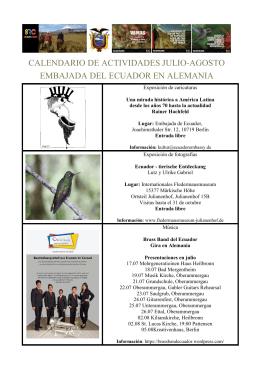 calendario de actividades julio-agosto embajada del ecuador en