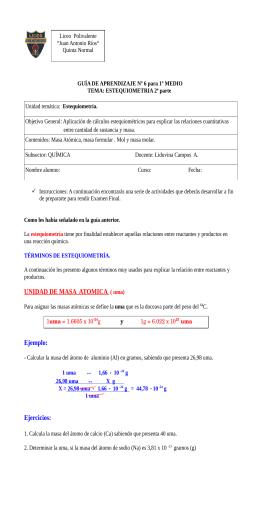 1º Medio (Estequiometría) – Masa atómica