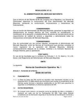 Norma de Coordinación Operativa No. 1, junio 2013