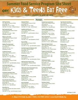 Summer Food Service Program Site Sheet