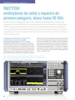 R&S®FSW: analizadores de señal y espectro de