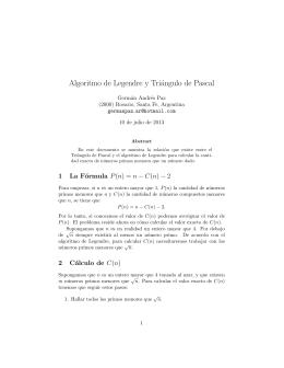 Algoritmo de Legendre y Triángulo de Pascal