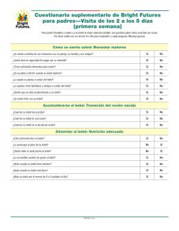 Cuestionario suplementario de Bright Futures para padres—Visita