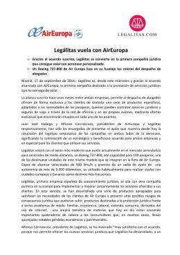 Legálitas vuela con AirEuropa (MADRID, 17/09/2014)