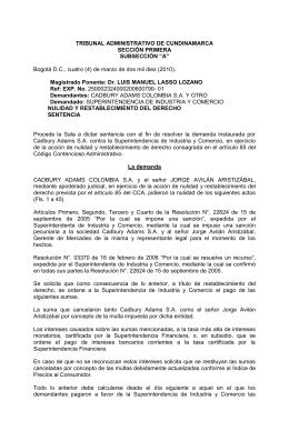 Sentencia Cadbury Adams - Centro Regional de Competencia para
