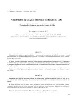 Características de las aguas minerales y medicinales de Cuba