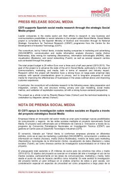 PRESS RELEASE SOCIAL MEDIA NOTA DE PRENSA SOCIAL