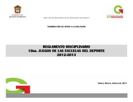 REGLAMENTO DISCIPLINARIO 10os. JUEGOS DE LAS