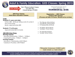Registration — GED Classes Children NOT allowed