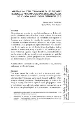 VARIEDAD DIALECTAL COLOMBIANA EN LAS EMISORAS