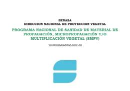 PROGRAMA NACIONAL DE SANIDAD DE MATERIAL DE