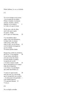Pedro Salinas, La voz a ti debida [1] Tú vives siempre en tus actos