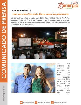 Una vez más Cine en la Plaza une a los pereiranos