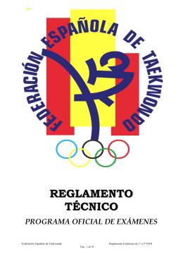 Reglamento Examen 1º a 5º Dan Taekwondo