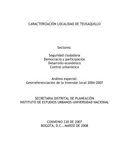 CARACTERIZACIÓN LOCALIDAD DE TEUSAQUILLO Sectores