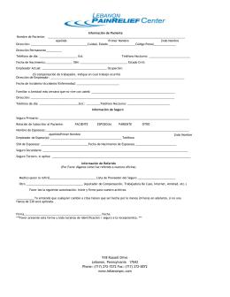 918 Russell Drive Lebanon, Pennsylvania 17042 Phone: (717) 272