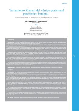 Tratamiento Manual del vértigo posicional paroxístico benigno.
