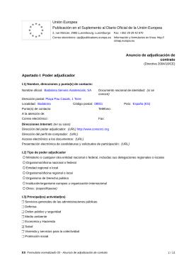 Anuncio de adjudicación de contrato - BSA 2/14 / ES