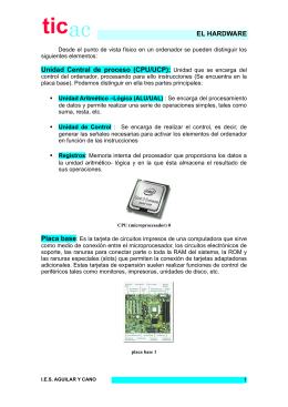 EL HARDWARE Unidad Central de proceso (CPU/UCP