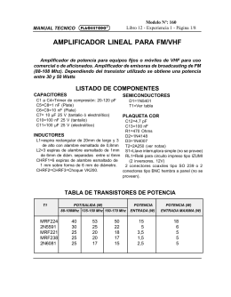 AMPLIFICADOR LINEAL PARA FM/VHF