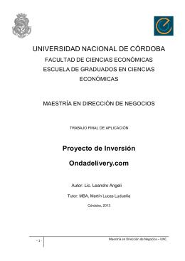 Angeli, Leandro. Proyecto de inversion Ondadelivery.com
