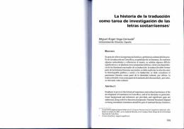 La historia de la traducción como tarea de investigación de las
