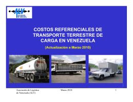 costos referenciales de transporte terrestre de carga en venezuela
